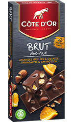 Chocolat Côte d'or BRUT Noir Orange et Amandes