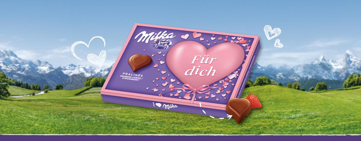 """I love Milka 110g Erdbeer Valentinstag """"Für dich"""""""