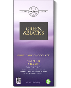 Pure Dark Chocolate Salted Caramel Bar, 70% Cacao