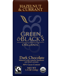 Organic Hazelnut and Currant Dark Chocolate Bar, 60% Cacao