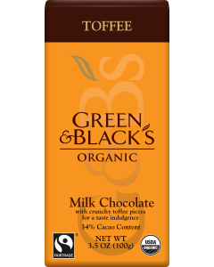 Organic Toffee Milk Chocolate Bar, 34% Cacao