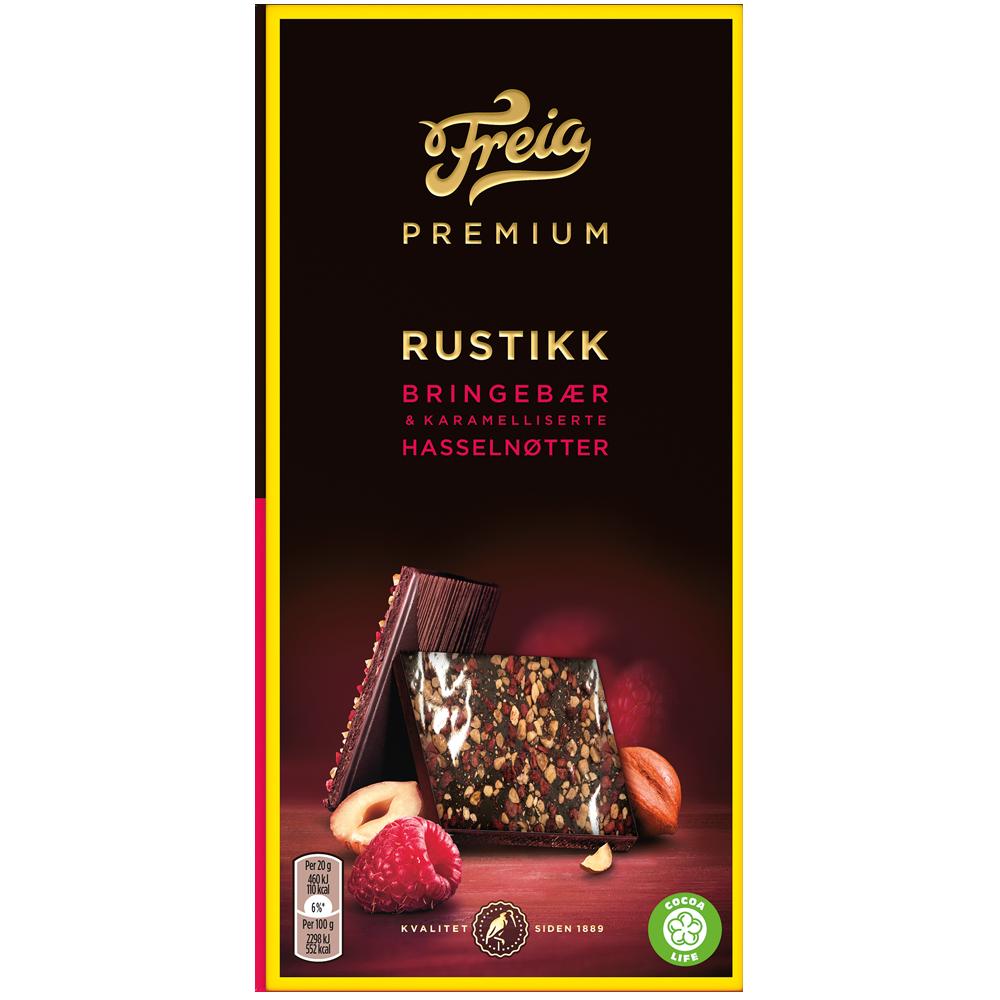 Freia Premium Rustikk Bringebær & Karamelliserte Hasselnøtter 100g