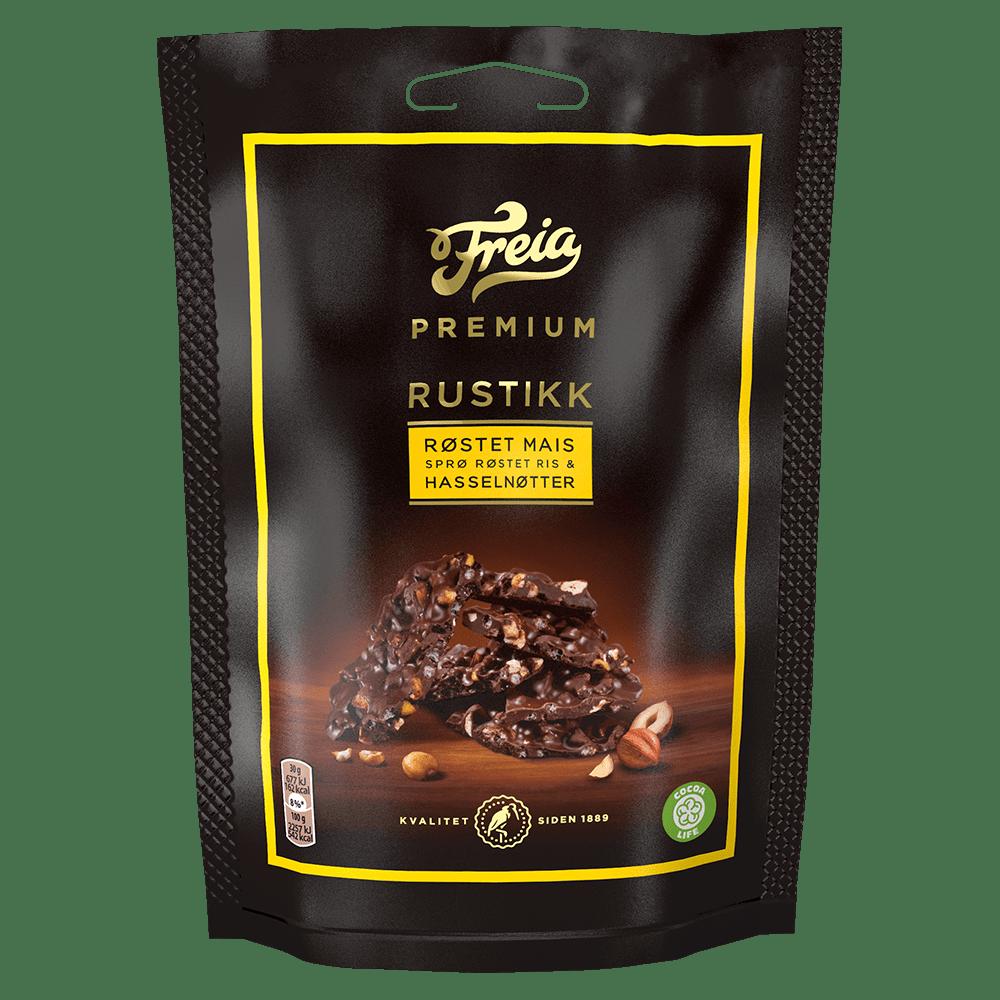 Freia Premium Rustikk med røstet mais, sprø riskorn & hasselnøtter 120g
