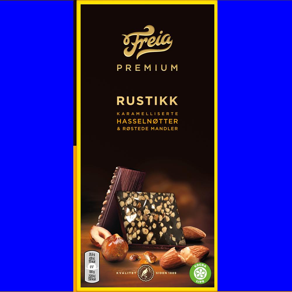 Freia Premium Rustikk karamelliserte hasselnøtter & røstede mandler 103g