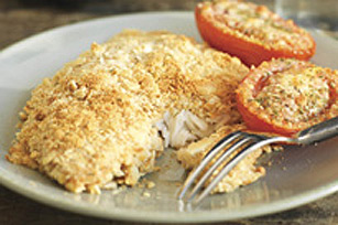 Poisson croustillant avec tomates au parmesan recette