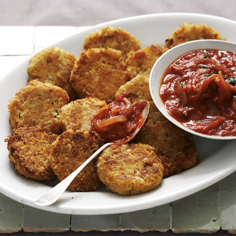 Garbanzo Cakes with Tomato Sauce Recipe