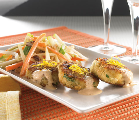 Mini Crab Cakes on Vegetable Slaw made with RITZ Crackers Recipe
