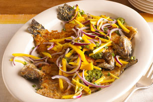 Pan-Seared Trout with Chimichurri and Mango Slaw Recipe
