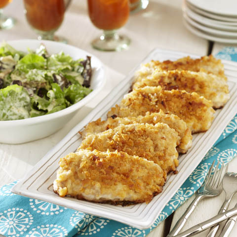 Breaded Pork Chops with Mustardy Greens Recipe