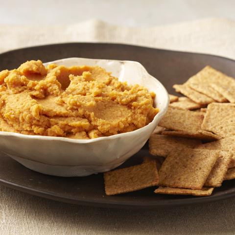 FINS AU BLÉ avec humus à la patate douce  Recipe