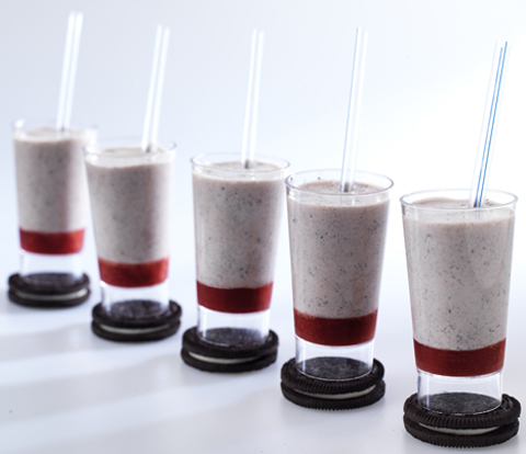 Chocolate Strawberry Mini Milkshake made with OREO Cookies Recipe