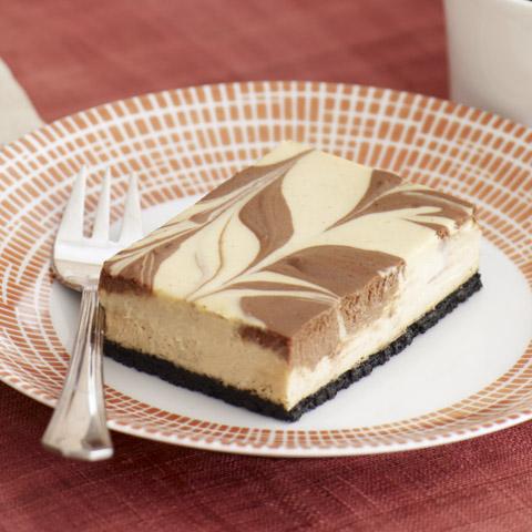 Cappuccino Chocolate-Swirl Cheesecake Bars Recipe