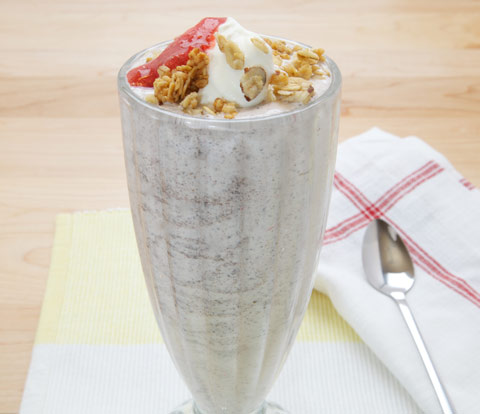 Strawberry-Banana Milkshake made with OREO Variegate and OREO Base Cake Recipe