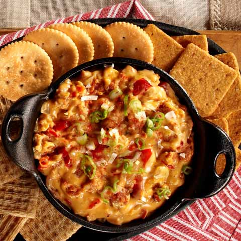 Queso Dip with Chorizo, Grilled Onions & Peppers Recipe