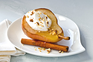 Poached Pears with Crumble & Cream Recipe