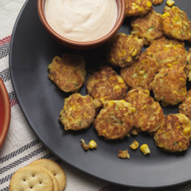 Mini Zucchini Corn Cakes & Spicy Aioli Recipe