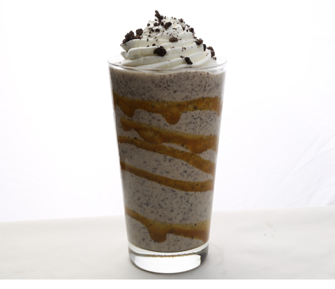Caramel Blended Ice made with OREO Cookie Pieces Recipe