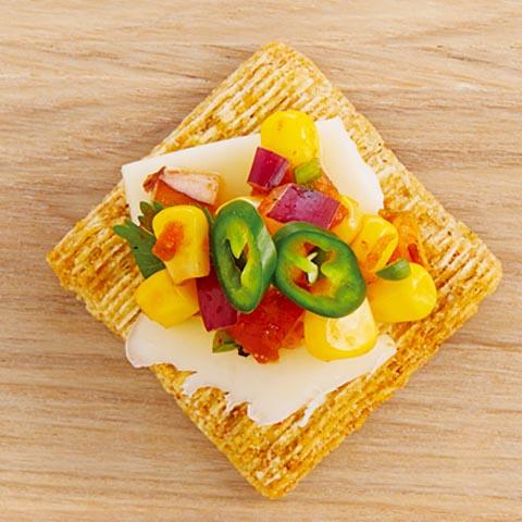 Cheesy Corn Salsa Toppers Recipe