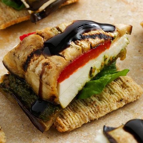 """Eggplant, Mozzarella & Pesto """"Napoleon"""" Toppers Recipe"""