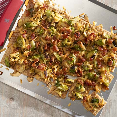 """Brussels Sprouts & Bacon Pull-Apart """"Pizza"""" Recipe"""