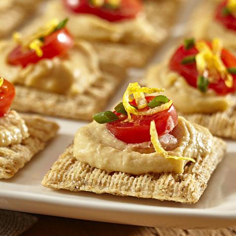 TRISCUIT Tomato, Chive & Hummus Topper Recipe