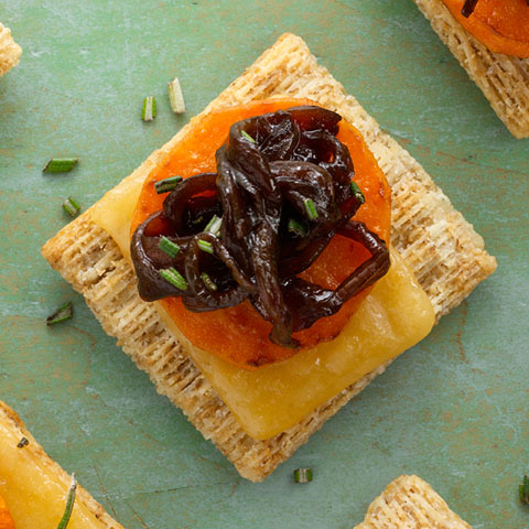 Sweet Potato, Gouda & Balsamic Onion Toppers Recipe