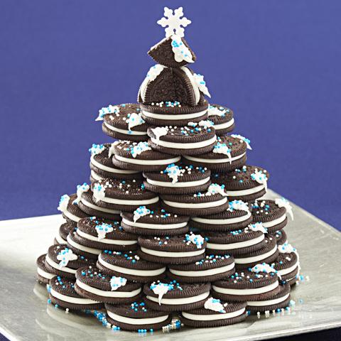 Centre de table en forme d'arbre de Noël OREO recette