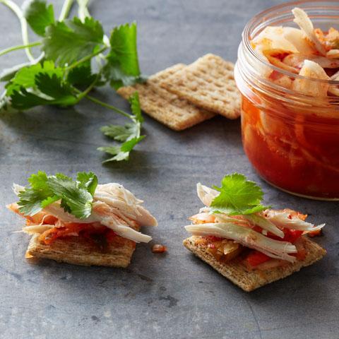 Kimlantrochickscuit (kimchi+cilantro+chicken) Recipe