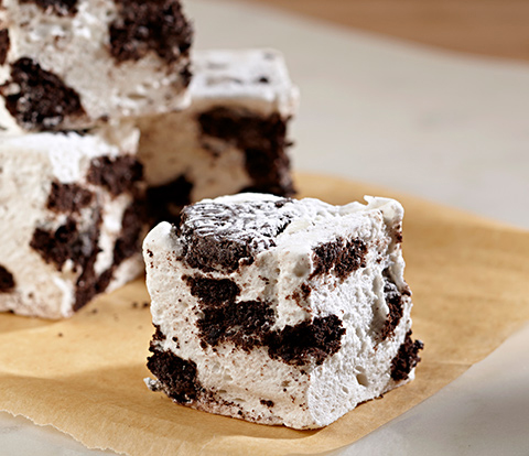 Vanilla Marshmallows made with OREO Cookie Pieces Recipe