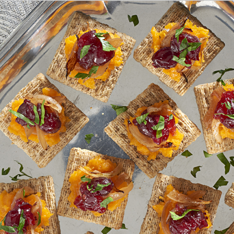 TRISCUIT Butternut Squash, Caramelized Onion & Cranberry Toppers Recipe