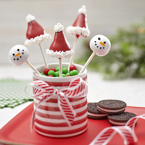 Santa Hat Cookie Ball Pops Recipe