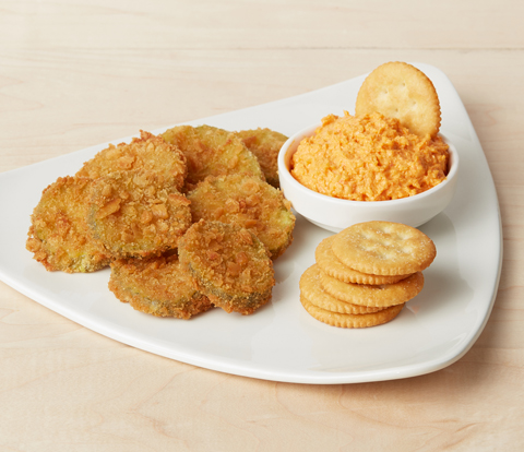 Fried Pickle Slices with Pimiento Cheese Dip & RITZ Crackers