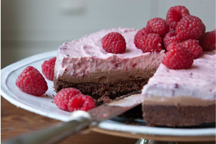 Milk Chocolate and Raspberry Layered Cheesecake