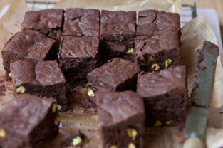 Milk Chocolate Brownies with Pistachios