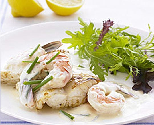 Fish with creamy prawn sauce everyday delicious kitchen for Creamy sauce served with fish