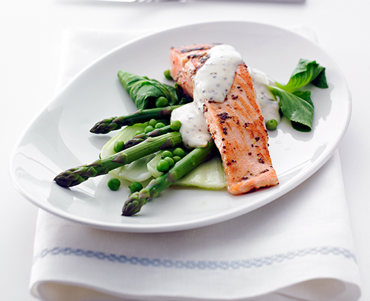 Chargrilled Salmon with Mustard Cream Sauce