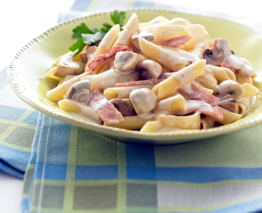 Cheesy Bacon and Mushroom Pasta
