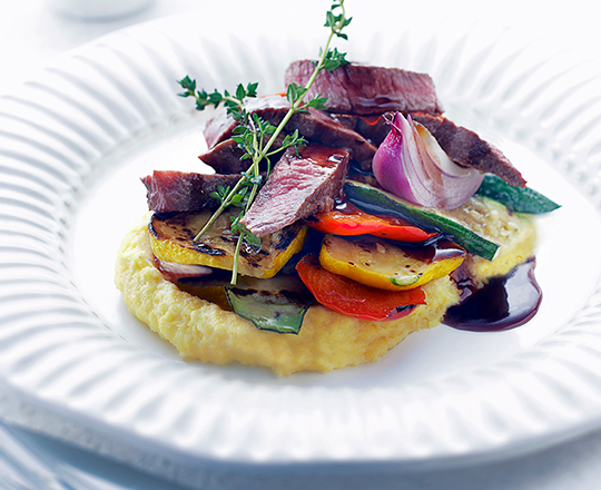 Chargrilled Lamb with Cream Cheese Polenta