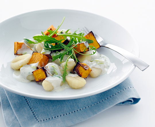 Roasted Pumpkin & Blue Cheese Pasta with Rocket