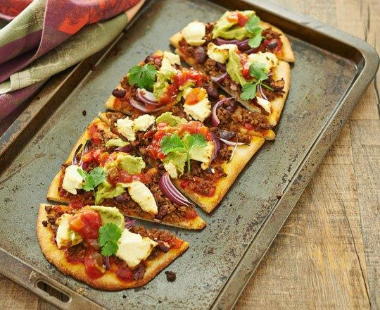 Mexican Beef and Bean Pizzas
