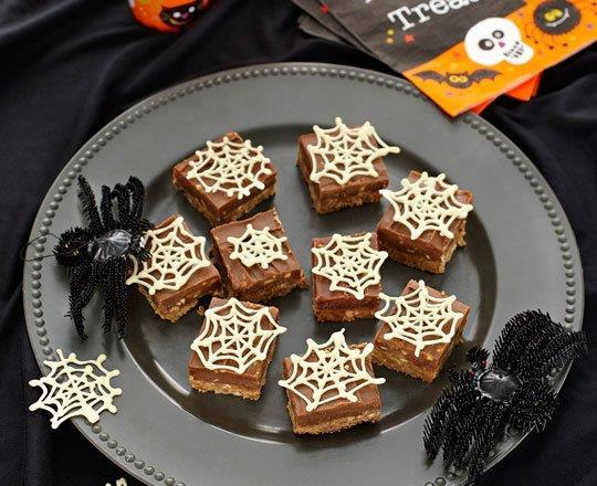 Chocolate Halloween Slice with White Webs