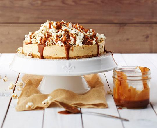Crunchy Peanut Butter Cheesecake with Popcorn and Toffee Sauce