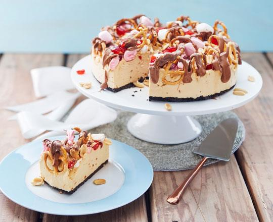 Festive Peanut Butter Rocky Road Cheesecake