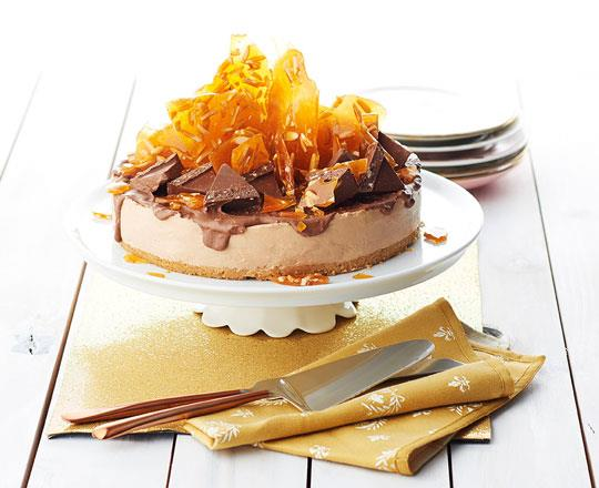 Toblerone Liqueur Cheesecake with Almond Toffee Crown