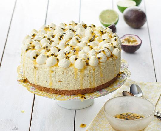 White Chocolate Lime and Passionfruit Chiffon Cheesecake with Passionfruit Glaze