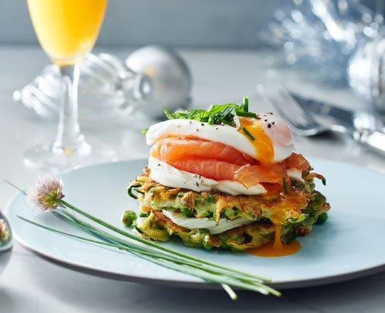 Christmas Zucchini and Pea Fritters with Salmon