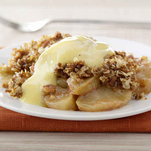 Ginger-Nut Apple Betty with Warm Eggnog Custard Recipe