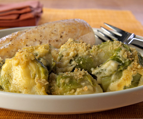 Creamy Cheesy Brussels Sprouts au Gratin Recipe