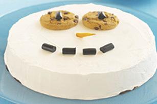 Un bonhomme de neige aux biscuits aux pépites de chocolat recette
