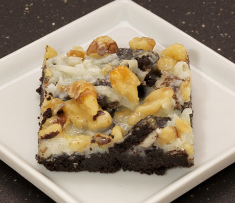 Coconut & Walnut Bars made with OREO Base Cake and Cookie Pieces Recipe